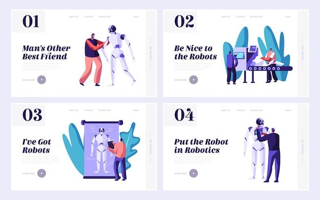 로봇 공학 웹 사이트 방문 페이지 템플릿 세트