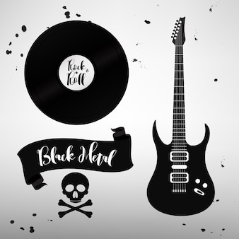 ロックンロールの音楽サイン、要素、ラベルのセット。