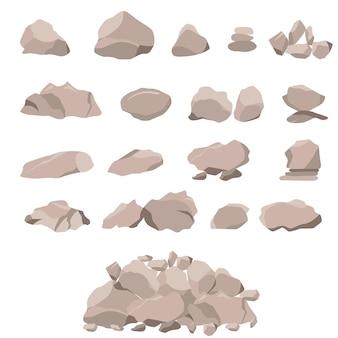 돌과 큰 바위의 집합입니다. 평면 스타일 3d. 자연과 풍경의 요소. 산 개념입니다. 흰색 배경에 고립. 벡터 일러스트 레이 션.