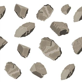 ロックストーンシームレスパターンのセットです。さまざまなサイズの石や岩。さまざまな岩のセット。フラットスタイルのベクトル図