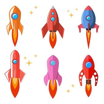 スタイルのロケットのセットです。漫画の宇宙船。ポスター、カード、バナー、チラシ、カードの要素。図