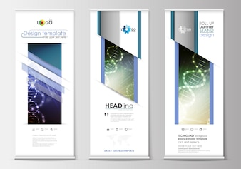Set of roll up banner stands, flat design templates, geometric style