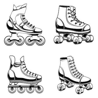 롤러 스케이트 그림의 집합
