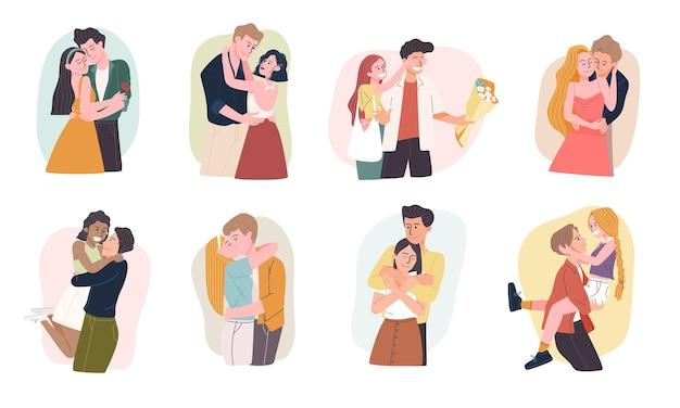 さまざまなジェスチャーでロマンチックな漫画のカップルのキャラクターのセット。