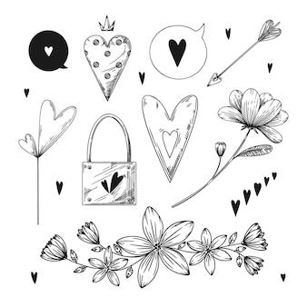 ロマンチックな手描きの要素のセットです。さまざまな心、花、その他のさまざまな要素。手描きスケッチベクトルイラスト。