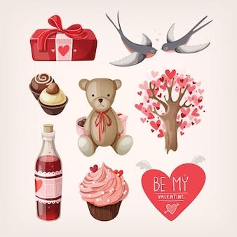 발렌타인 데이에 대한 낭만적 인 항목의 집합입니다.