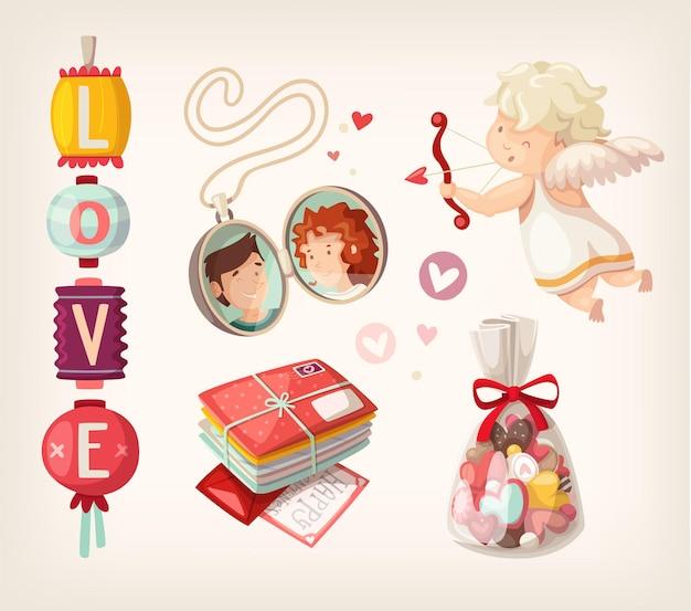 로맨틱 발렌타인 항목 및 사람들의 집합입니다.