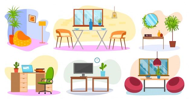 家の家具のアイコン、リビングルーム、ホームオフィススタイルのイラストが部屋のインテリアのセット。モーデンのアパートまたは部屋のインテリア、テーブル、椅子、ソファー、コンピューター、窓。