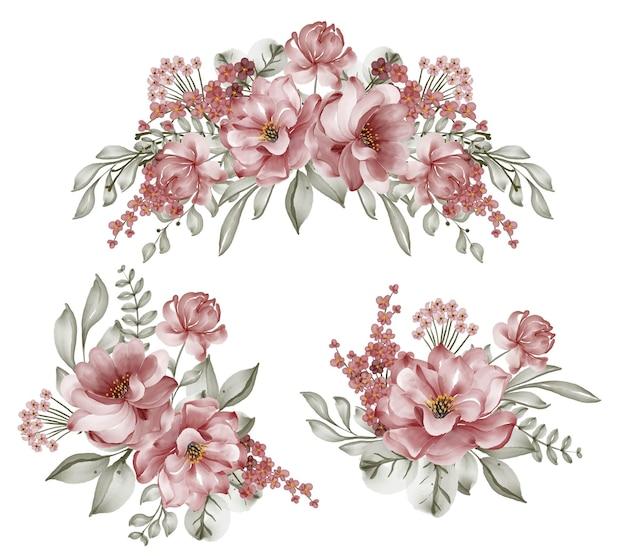 Набор розовых бордовых цветочных композиций акварельной иллюстрацией