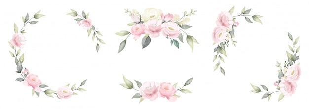 장미 꽃 수채화 프레임 분홍색과 흰색 꽃다발 꽃 디자인의 집합입니다.