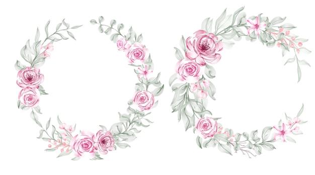 장미 꽃 수채화 프레임 화환 디자인 분홍색과 흰색 꽃다발 꽃 세트