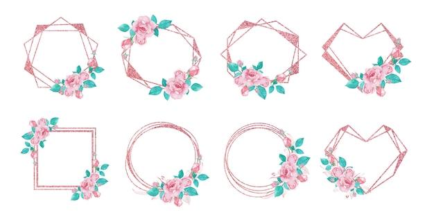 웨딩 모노그램 로고 및 브랜딩 로고 디자인을위한 로즈 골드 플라워 프레임 세트