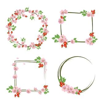 ローズヒップリースのセット。丸と四角のフレーム、かわいいピンクと花と果物。
