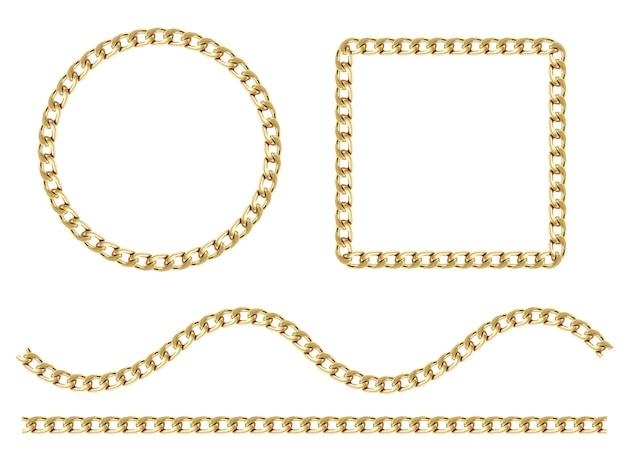 ラウンドチェーンネックレスフレームのセット。白で隔離される厚い円と薄い円のコレクション