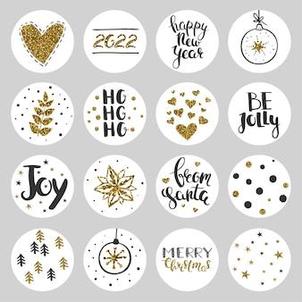 Набор круглых рождественских наклеек декоративные векторные наклейки на рождество и новый год 2022