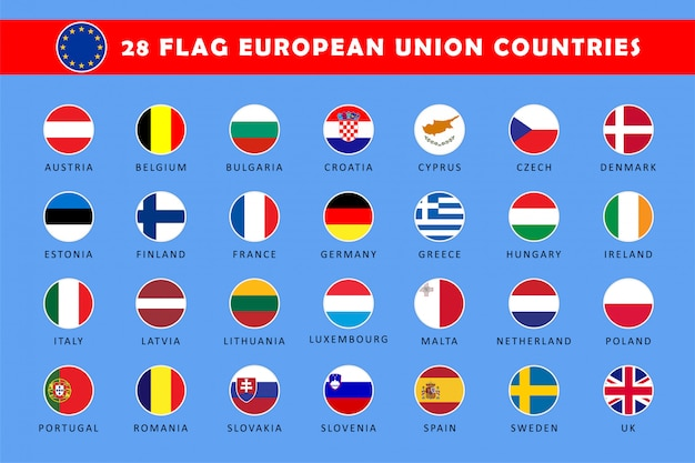 欧州連合諸国の丸い旗のセット