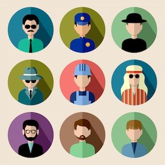 Набор круглых плоских иконок с мужчинами.