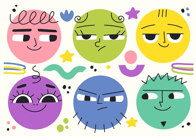 さまざまな顔の感情を持つ丸い面白いキャラクターのセットodernベクトルイラストアバター