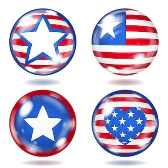 さまざまな米国のシンボルが付いた丸いガラス ボタンのセット