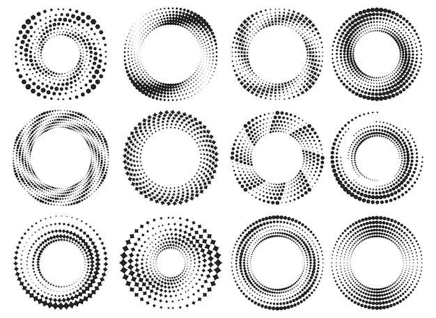 라운드 하프톤 프레임 세트입니다. 동그라미 점선 형태. 벡터 기하학적 원형 모양입니다.