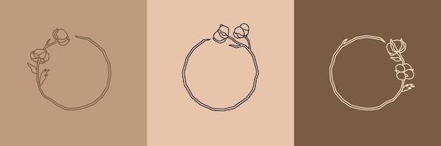 최소한의 선형 스타일로 목화 꽃이 있는 둥근 화환 세트. 복사 공간이 있는 프레임입니다. 면의 벡터 로고 - 화장품, 유기농 식품, 결혼식, 꽃집, 수제 포장용 템플릿을 사용할 수 있습니다.