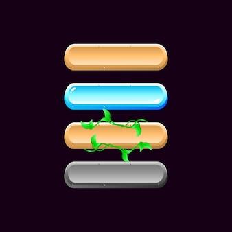 Набор закругленных значков кнопки игровой доски пользовательского интерфейса каменный деревянный лист снежная текстура для элементов графического интерфейса