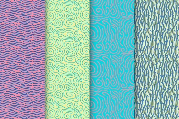 丸みを帯びた線パターンのセット