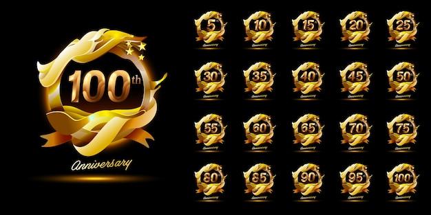 Набор зажигательных логотипов празднования годовщины