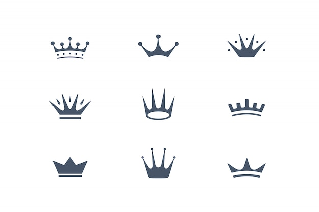 王冠、アイコン、エンブレムのセット