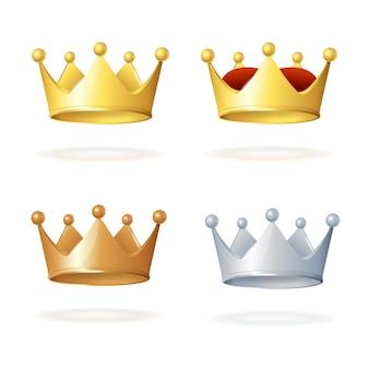 白で隔離の王冠のセット