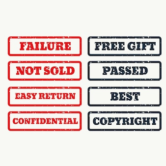 Set of rubber stamps with various texts