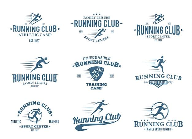 Набор шаблонов логотипов бегового клуба