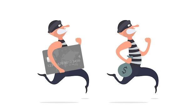 Набор бегущих преступников. грабитель сбегает с помощью кредитной карты. мультяшный стиль иллюстрации. подходит для защиты, грабежа и мошенничества. изолированный. вектор.
