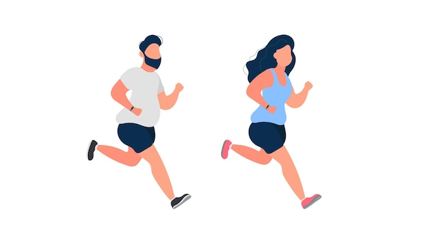 실행 뚱뚱한 사람들의 집합입니다. 뚱뚱한 남자와 여자가 달리고 있습니다. 체중 감량과 건강한 생활 방식의 개념. 외딴. 벡터