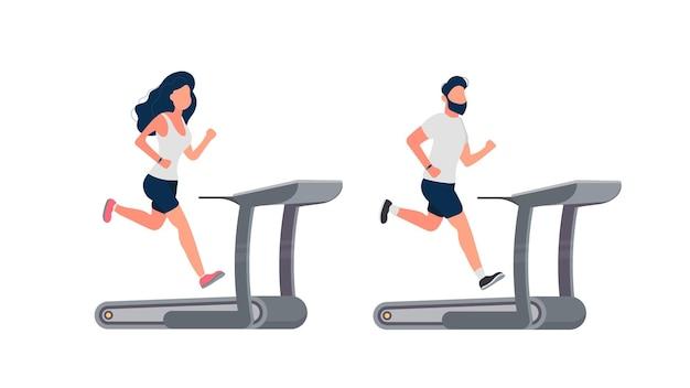 실행 중인 사람들의 집합입니다. 남자와 여자는 시뮬레이터에서 실행 중입니다. 밟아 돌리는 바퀴. 외딴. 벡터.