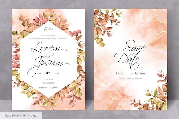 Набор рустикальных богемных осенних осенних свадебных приглашений дизайн кадра