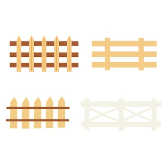 素朴な柵のセット。農家の装飾。ベクトル手描きクリップアート
