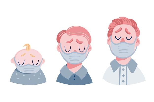 Набор грустных мужчин в медицинской маске. головы подростков, детей и взрослых.