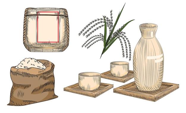 Набор саке. традиционный японский рисовый алкогольный напиток. коллекция керамической вазы и чашки, стебля и мешка для риса, бочки саке.