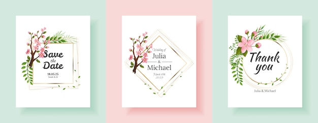 사쿠라 꽃 배경 세트입니다. 꽃 결혼식 초대 카드 템플릿 디자인. 휴일 초대장, 인사말 카드 및 패션 디자인