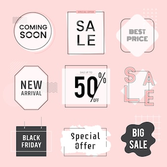 Set of sale and promotion badges vector