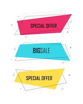 販売バナーテンプレートデザイン、スーパーセール、特別オファーのセットです。抽象的な背景色アートイラスト。コントラストカラー。ロゴ、バナー、投稿のグラデーション要素。図