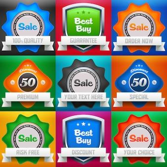 판매, 베스트 바이 및 할인 아이콘 / 라벨 세트