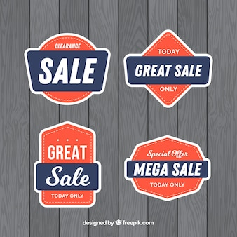 Set of sale labels with colorful shapes