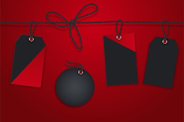 クリスマスホリデーショッピングプロモーション用の販売紙タグのセット。