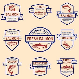 연어, 송어 해산물 라벨 세트. 로고, 레이블, 기호, 포스터, 배너 디자인 요소입니다.