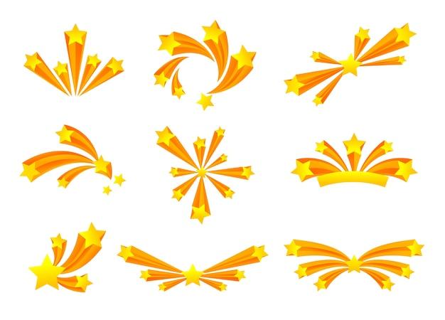金色の星と様々な形の敬礼のセットです。白い背景のイラスト。