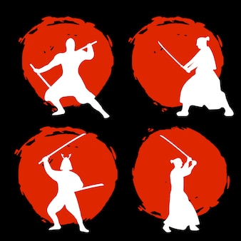 Набор воинов-самураев силуэт на красной луне