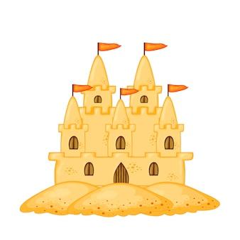 Набор замков из песка разной формы. летняя коллекция мультфильмов в векторе.