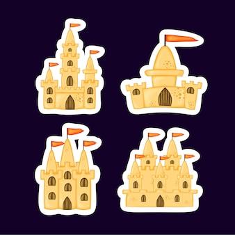Набор замков из песка разной формы. летняя коллекция мультфильмов